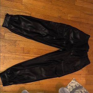 Zara leather jogger pants
